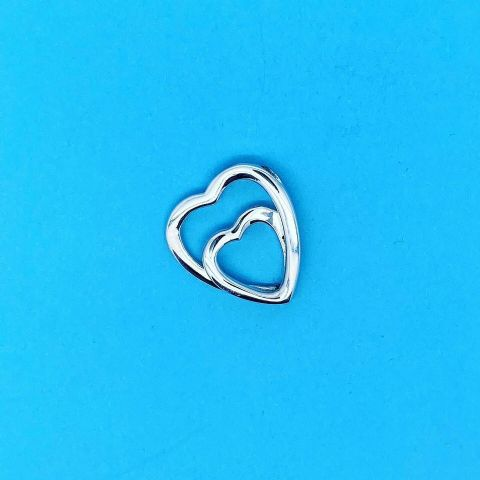 Genuine 925 Sterling Silver Wrap Around Double Heart Pendant
